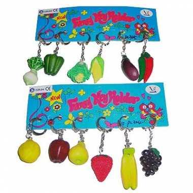 12x sleutelhangers van groente en fruit