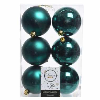 12x smaragd groene kerstversiering kerstballen kunststof 8 cm