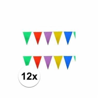 12x stuks feestvlaggetjes 10 meter
