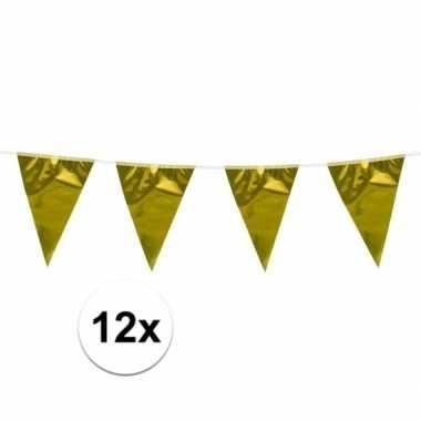 12x stuks gouden vlaggenlijn van 10 meter lang