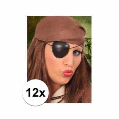 12x stuks piraten ooglapjes