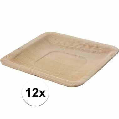 12x wegwerp bordjes palmblad 16 cm biologisch afbreekbaar