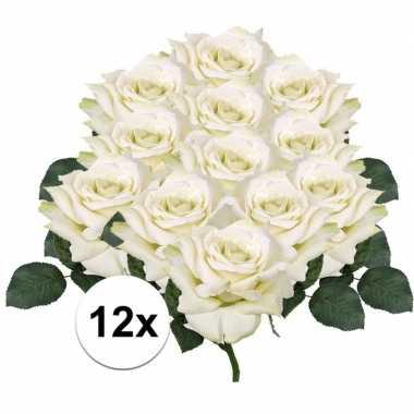 12x witte roos deluxe kunstbloemen 31 cm