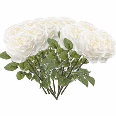 12x witte rozen kunstbloemen 66 cm