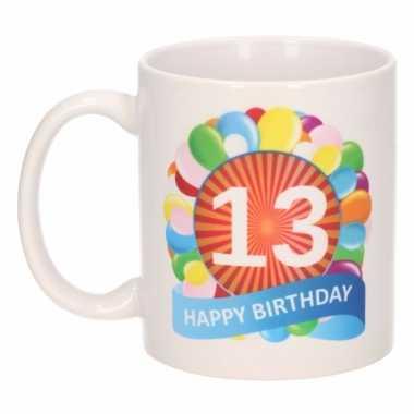 13 jaar cadeau beker 300 ml ballon thema