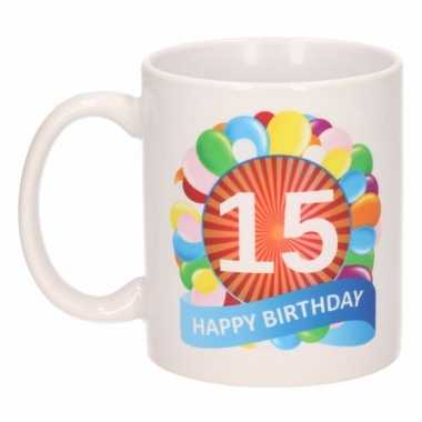 15 jaar cadeau beker 300 ml ballon thema