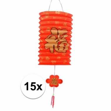 15 rode gelukslampionnen 20 cm