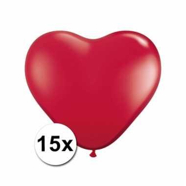 15 rode harten ballonnen 15 cm