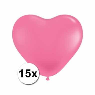 15 roze harten ballonnen 15 cm