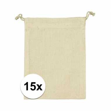 15 x linnen uitdeeltasjes met koord 10 x 14 cm