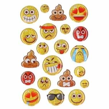 15x emoties smiley glitter stickertjes