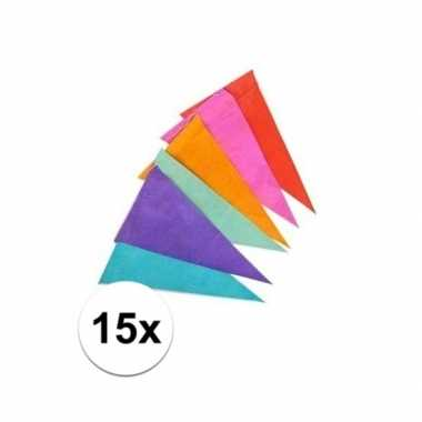 15x gekleurde vlaggenlijnen/vlaggetjes van papier