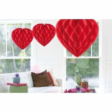 15x rode decoratie hartjes van 30 cm
