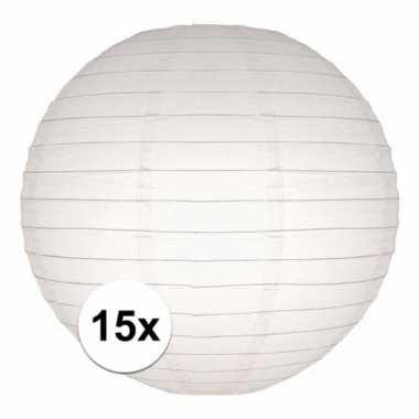 15x witte huwelijk versiering bol lampionnen 25 cm