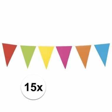 15x xl vlaggenlijn gekleurd 10 meter