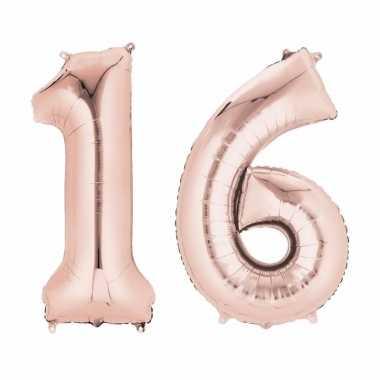 16 jaar geworden cijfer ballon rose goud
