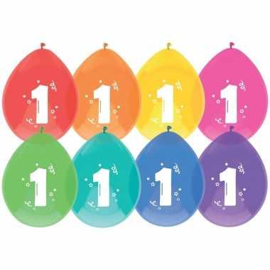 16x ballonnen 1 jaar verjaardag/leeftijd versiering