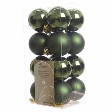 16x donkergroene kerstballen 4 cm kunststof mat/glans