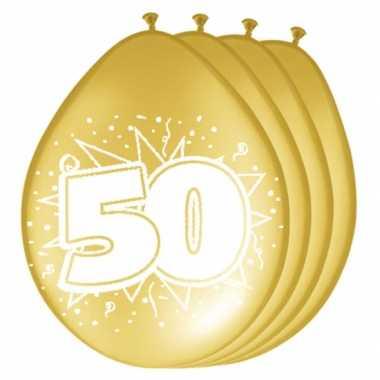 16x metallic gouden ballonnen 50 jaar