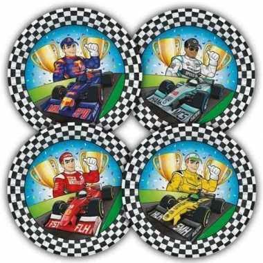 16x race/formule 1 thema bordjes 23 cm