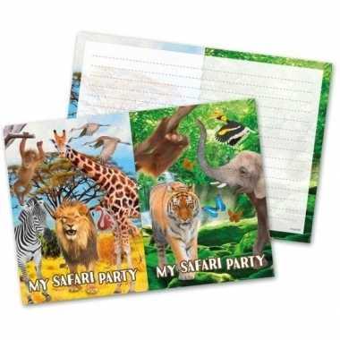 16x safari/jungle themafeest uitnodigingen 27 cm