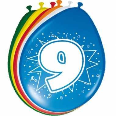 16x stuks ballonnen 9 jaar 30 cm