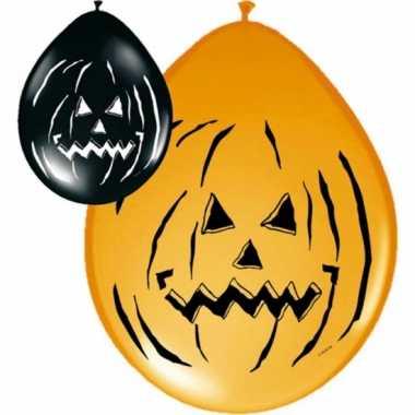 16x zwart met oranje halloween ballonnen