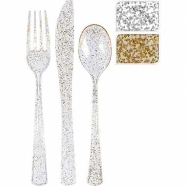18 delige bestekset zilveren glitters