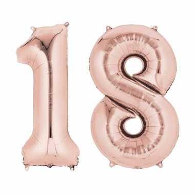 18 jaar geworden cijfer ballon rose goud