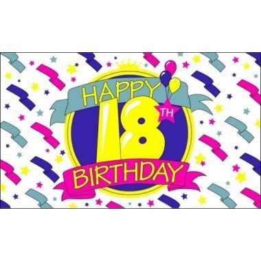 18 jaar happy birthday vlag