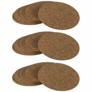 18x ronde onderzetters van kurk 9 cm