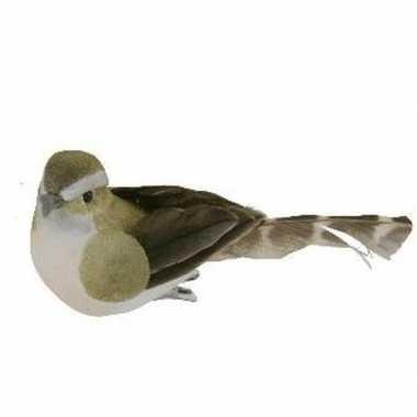 1x decoratie vogel op clip groen/wit 9 cm