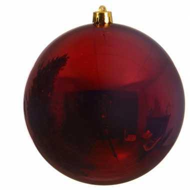 1x grote donker rode kerstballen van 14 cm glans van kunststof