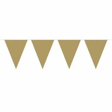 1x mini vlaggenlijn / slinger goud 300 cm