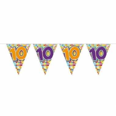 1x mini vlaggenlijn / slinger verjaardag versiering 10 jaar