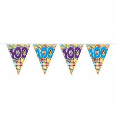 1x mini vlaggenlijn / slinger verjaardag versiering 100 jaar