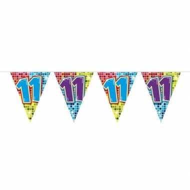 1x mini vlaggenlijn / slinger verjaardag versiering 11 jaar
