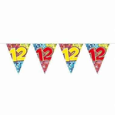 1x mini vlaggenlijn / slinger verjaardag versiering 12 jaar