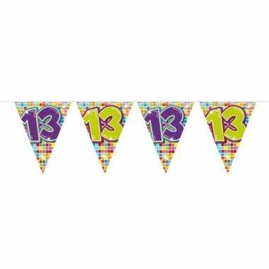 1x mini vlaggenlijn / slinger verjaardag versiering 13 jaar