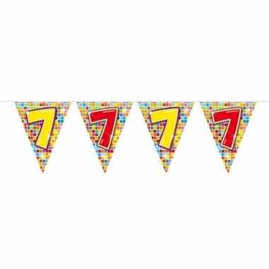1x mini vlaggenlijn / slinger verjaardag versiering 7 jaar