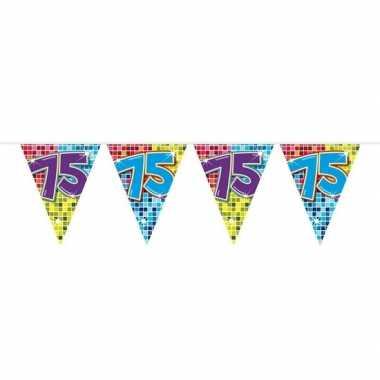 1x mini vlaggenlijn / slinger verjaardag versiering 75 jaar