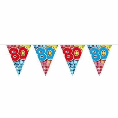 1x mini vlaggenlijn / slinger verjaardag versiering 80 jaar