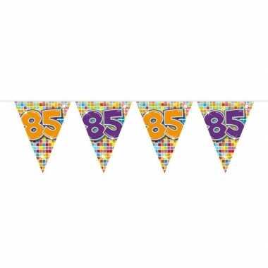 1x mini vlaggenlijn / slinger verjaardag versiering 85 jaar