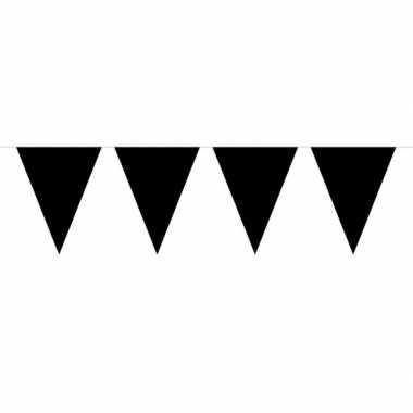 1x mini vlaggenlijn / slinger zwart 300 cm