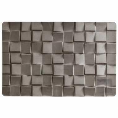 1x placemat grijze steen print 45 cm