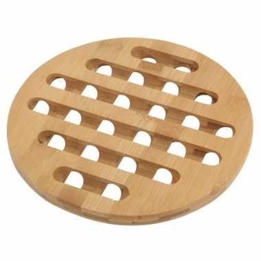 1x ronde pannen onderzetter bamboe 20 cm