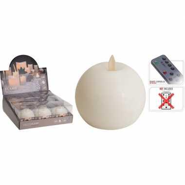 1x witte led bolkaars flame 8 cm met flakkerende vlam