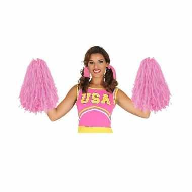 2 stuks cheerleader pompoms roze 28 cm