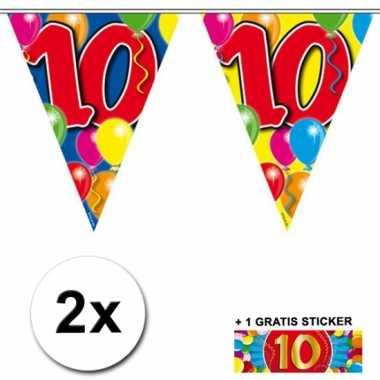 2 vlaggenlijnen 10 jaar met gratis sticker