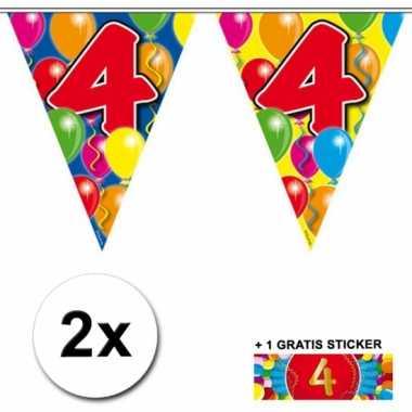 2 vlaggenlijnen 4 jaar met gratis sticker